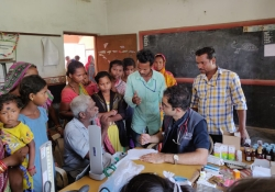 Dr. Edmond treating patients during Cyclone Fani which hit the coast of Odisha