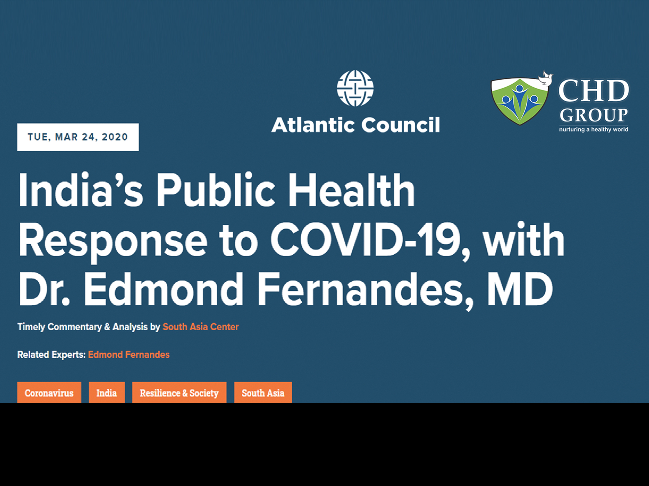 India's public health response to COVID-19 with Dr. Edmond Fernandes, MD