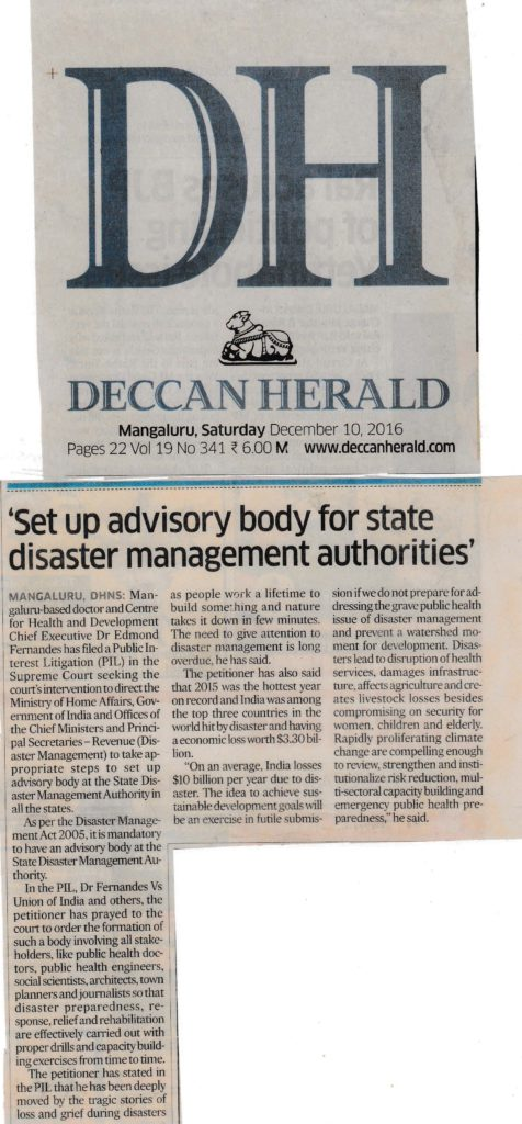 advisory for state disaster bodies