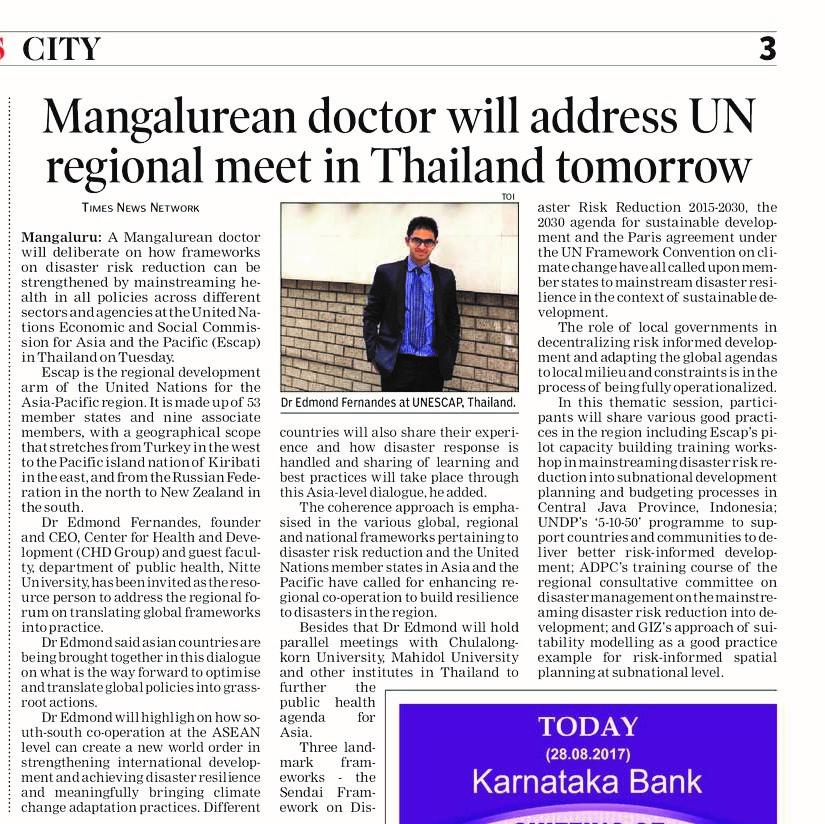 Mangalorean doctor will address UN regional meet in Thailand